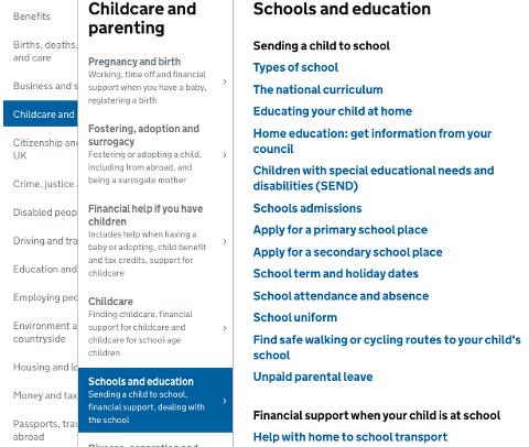 https://www.gov.uk/browse/childcare-parenting/schools-education