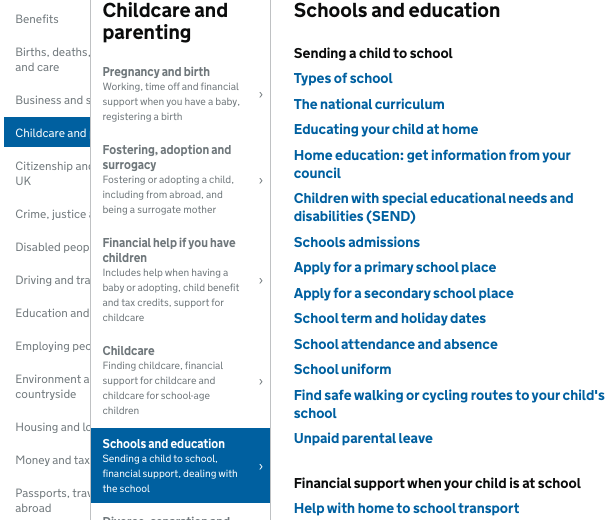 https://www.gov.uk/browse/childcare-parenting/schools-education