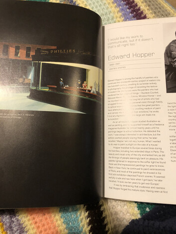 Fig 1, Graham, Rebecca 2020. iPhone shot of pg 22 in art visionaries. Nighthawks by Edward Hopper.